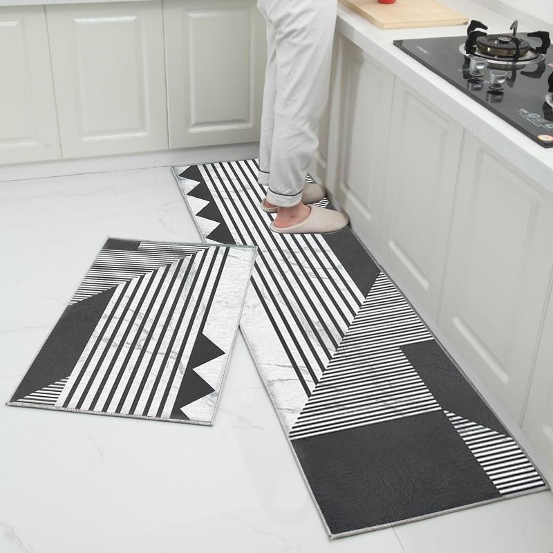 Tapis De Bain Design Noir Et Blanc